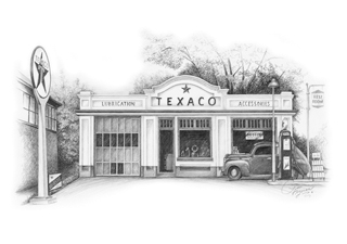 Old Gas Station Drawing Art Programs in...